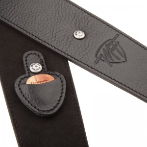Marco Fanton Signature Leather Guitar and bass strap BS Core Black 7 cm