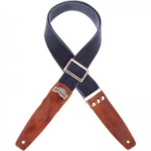 Stripe SC Cotton Washed Blu 5 cm terminali Twinkle Marrone, fibbia Recta Argento