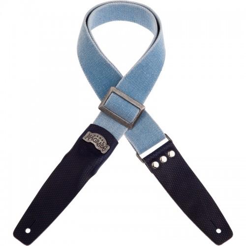 Stripe SC Cotton Washed Celeste 5 cm terminali Twinkle Blu, fibbia Recta Argento