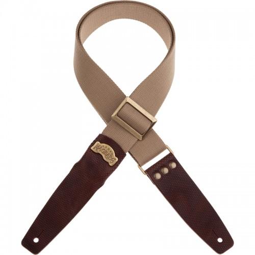 Stripe SC Cotton Beige 5 cm terminali Twinkle Marrone Scuro, fibbia Recta Ottone