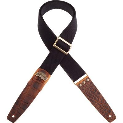 Stripe SC SPECIAL Cotton Nero 5 cm terminali Cocco Marrone, fibbia Recta Ottone