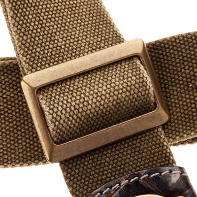 Stripe SS SPECIAL Cotton Washed Verde Oliva 5 cm terminali Cocco Dalma, fibbia Recta Ottone