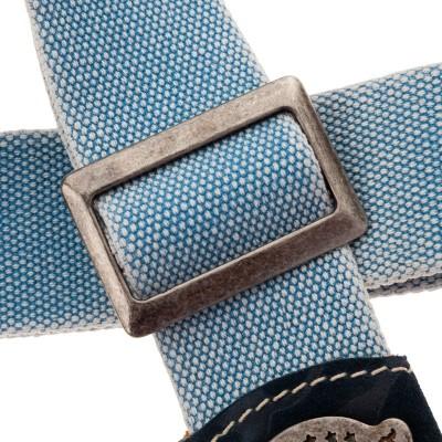 Stripe SS SPECIAL Cotton Washed Celeste 5 cm terminali Damasco Blu, fibbia Recta Argento