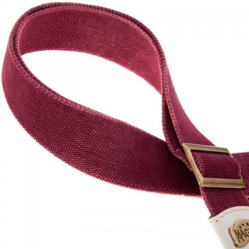 Stripe SS SPECIAL Cotton Washed Bordeaux 5 cm terminali Colors Bianco, fibbia Recta Ottone