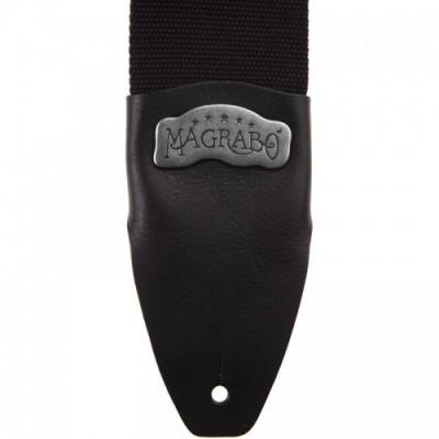 Magrabò Guitar Straps SC Cotton Nero 8 cm Term Core Nero Fibbia Argento
