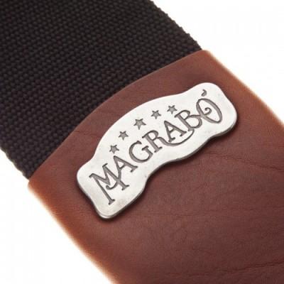 Magrabò Guitar Straps SC Cotton Nero 8 cm Term Core Marrone Fibb Argento