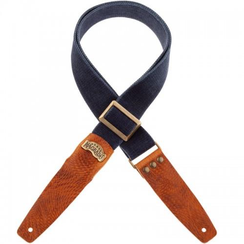 Stripe SC Cotton Washed Blu 5 cm Custom terminali Swivel Marrone, fibbia Recta Ottone