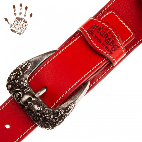 Twin Buckle TS Core Rosso 7 cm fibbie Skull and Roses Argento