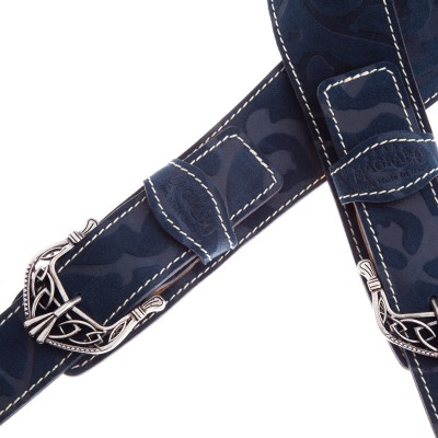 Twin Buckle TS Embossed Damasco Blu 7 cm fibbie King Argento