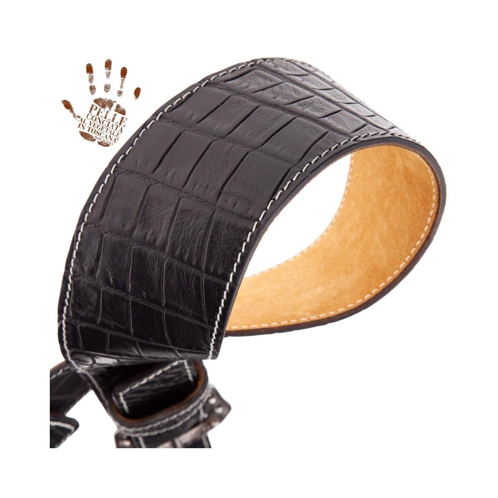 Twin Buckle TS Embossed Cocco Pros Nero 7 cm fibbie Sun Argento
