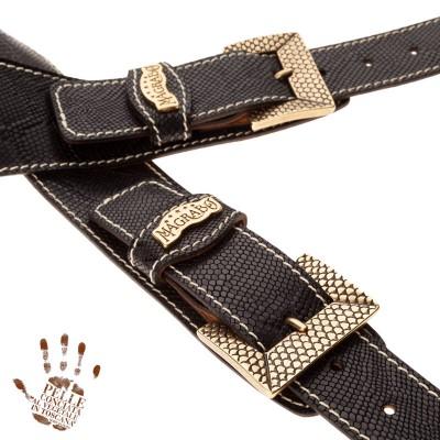 Twin Buckle TS Embossed Snake Nero 7 cm fibbie Scaled Ottone