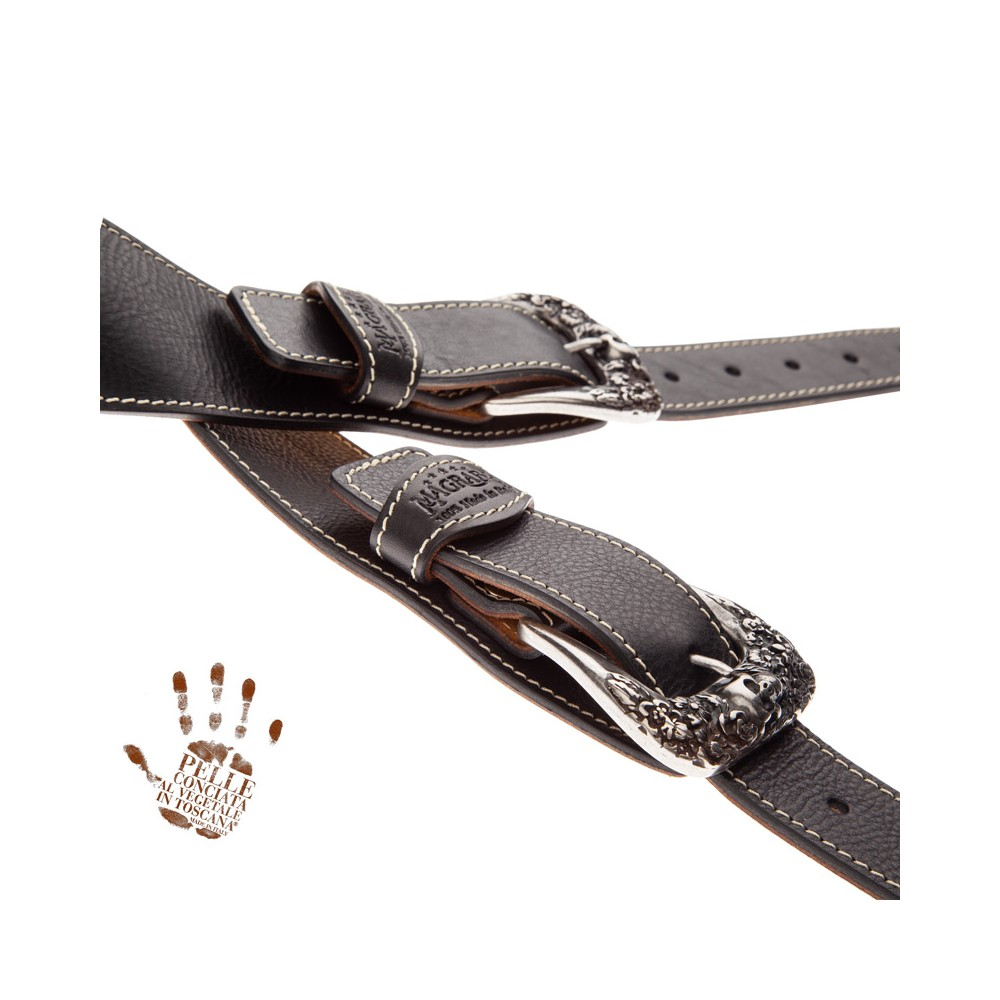 Twin Buckle TS Core Nero 7 cm fibbie Skull and Roses Argento