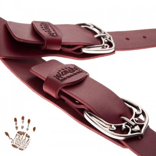 Twin Buckle TC Core Bordeaux 7 cm fibbie Queen Argento