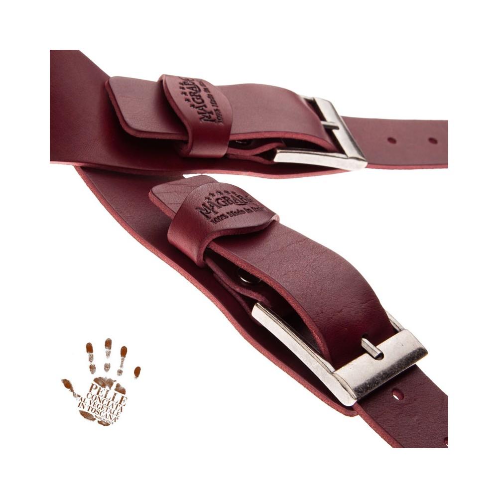 Twin Buckle TC Core Bordeaux 7 cm fibbie Squared Argento