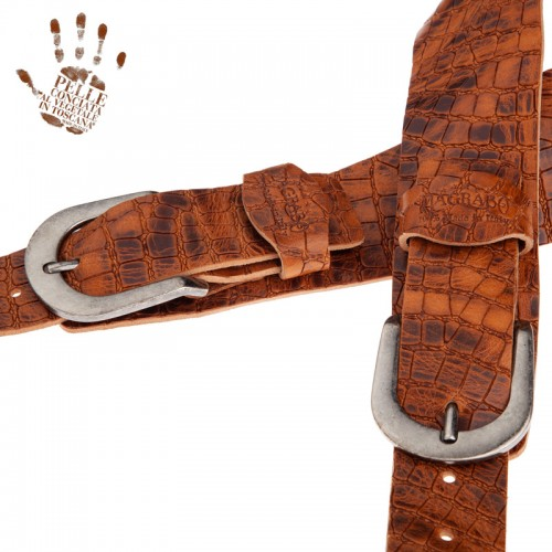 Twin Buckle TC Embossed Croco Lux Marrone 7 cm fibbie Round Argento Antico