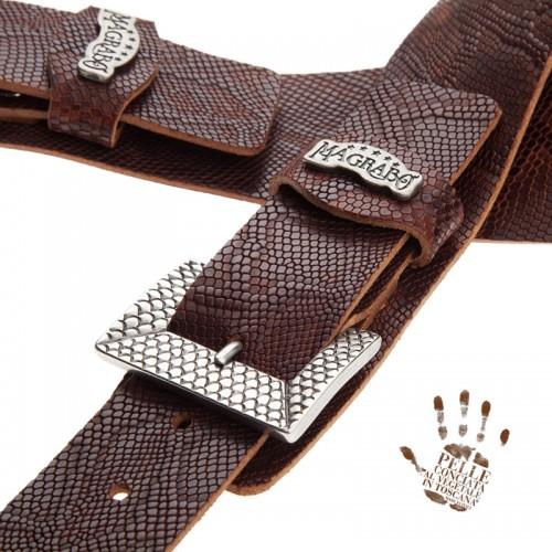 Twin Buckle TC Embossed Snake Marrone 7 cm fibbie Scaled Argento