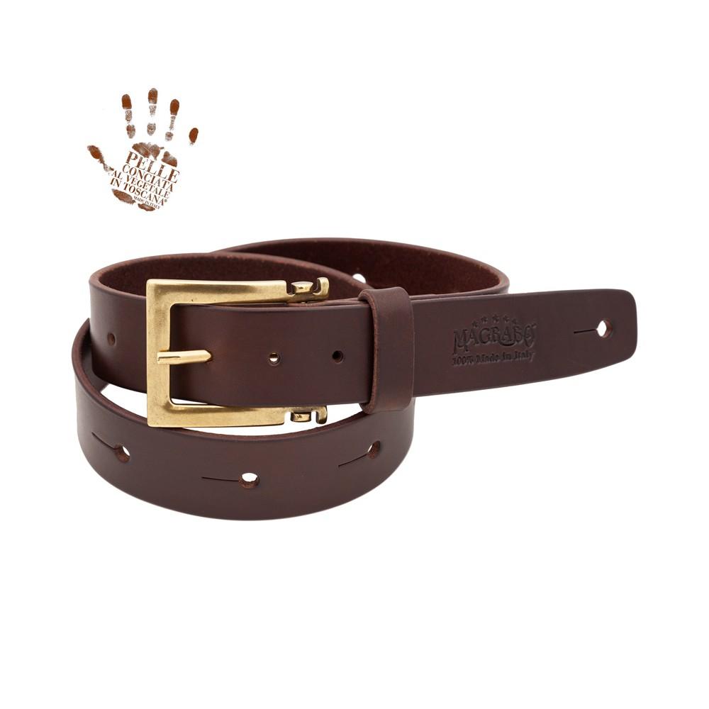 BELT & STRAP cintura in Vera Pelle di toro Marrone Scuro 4 cm, fibbia Meccano Ottone