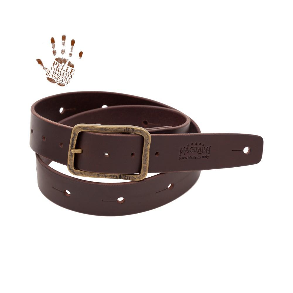 BELT & STRAP cintura in Vera Pelle di toro Marrone Scuro 4 cm, fibbia Old Square Ottone