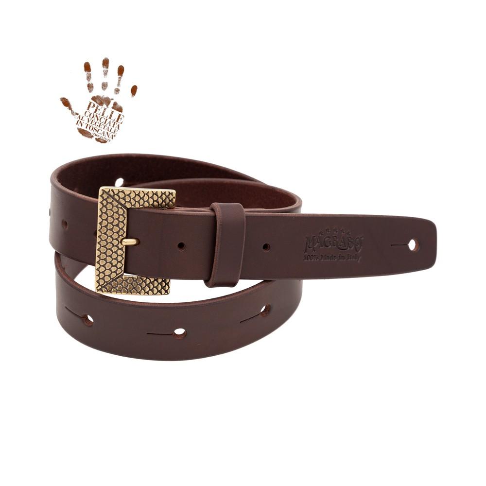 BELT & STRAP cintura in Vera Pelle di toro Marrone Scuro 4 cm, fibbia Scaled Ottone