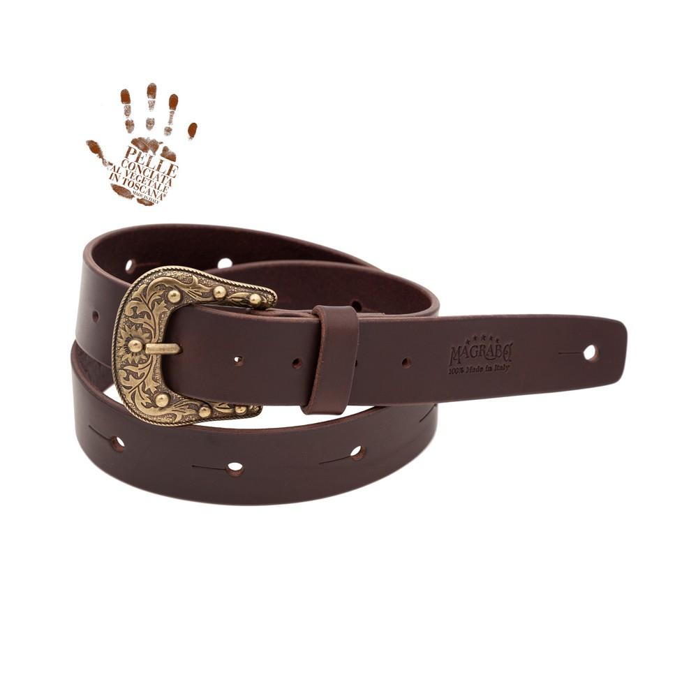 BELT & STRAP cintura in Vera Pelle di toro Marrone Scuro 4 cm, fibbia Sun Ottone