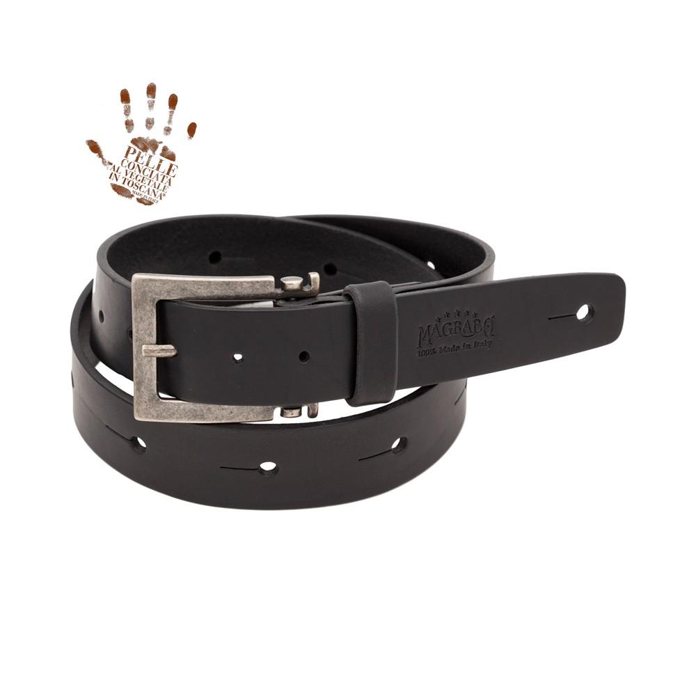 BELT & STRAP cintura in Vera Pelle di toro Nero 4 cm, Fibbia Meccano Argento