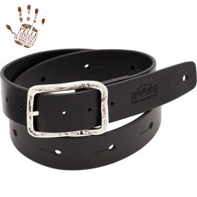 BELT & STRAP cintura in Vera Pelle di toro Nero 4 cm, fibbia Old Square Argento