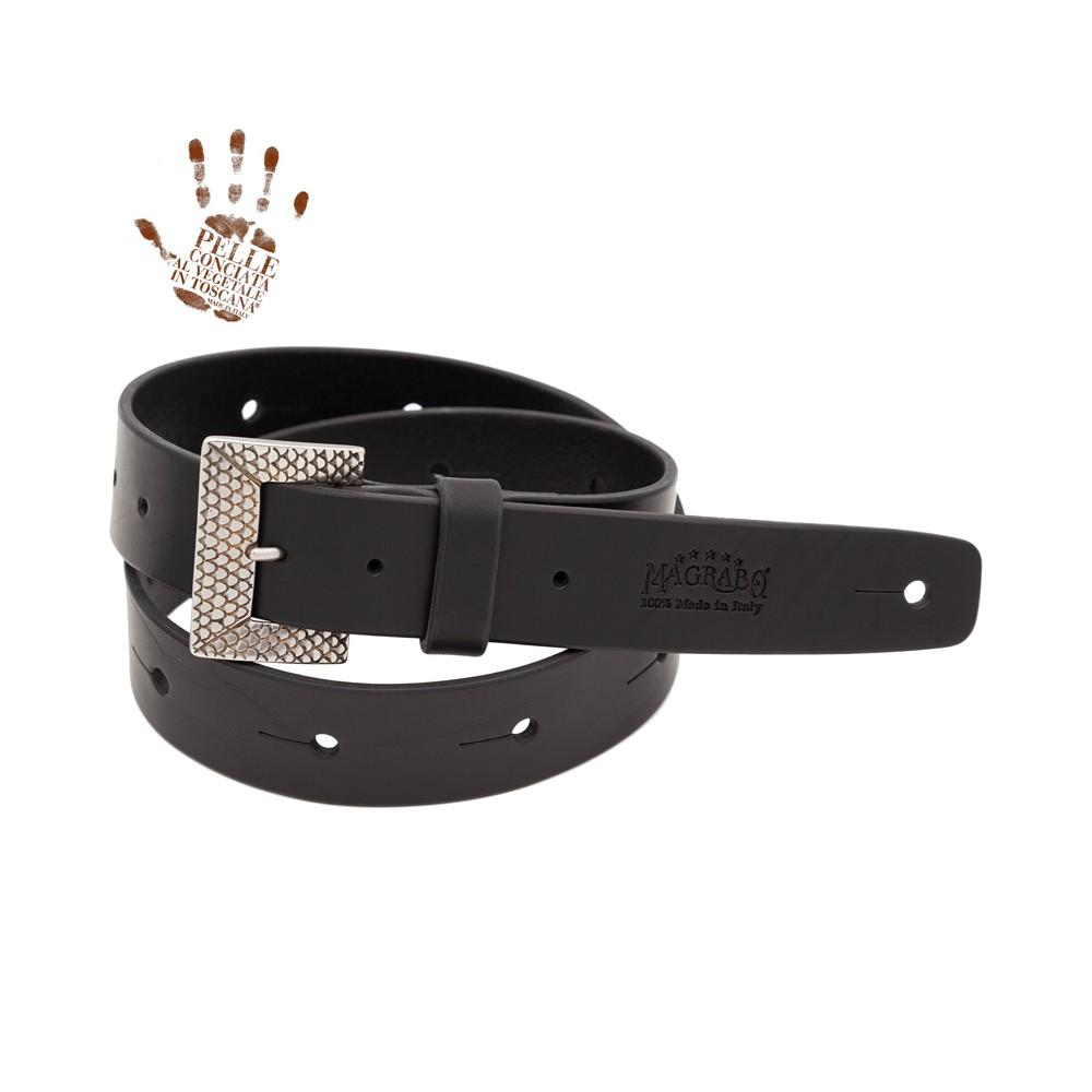 BELT & STRAP cintura in Vera Pelle di toro Nero 4 cm, fibbia Scaled Argento