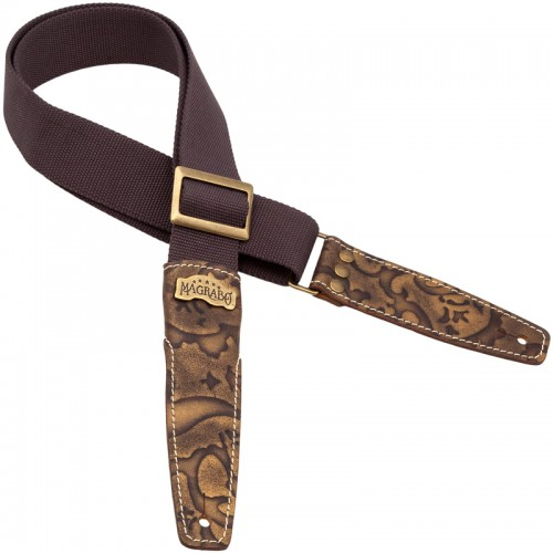 Stripe SS SPECIAL Cotton Marrone 5 cm terminals Grifo Bronze, Recta Brass buckle