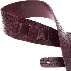 Tracolla per chitarra e basso in pelle Holes HC Embossed Cocco Bordeaux 6 cm