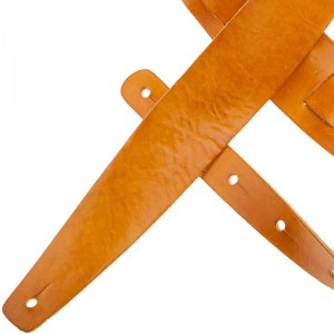 Tracolla per chitarra e basso in pelle Holes HC Stone Washed giallo 6 cm