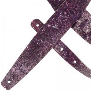 Tracolla per chitarra e basso in pelle Holes HC Embossed Seurat Viola 6 cm