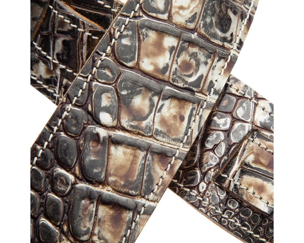 Tracolla per chitarra e basso in pelle Holes HS Embossed Cocco Dalma Argento 6 cm