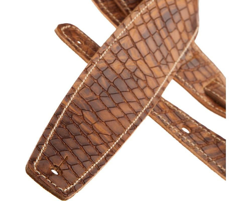 Tracolla per chitarra e basso in pelle Holes HS Embossed Croco Lux Marrone Chiaro 6 cm
