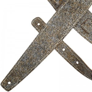 Tracolla per chitarra e basso in pelle Holes HS Embossed Seurat Bianco 6 cm