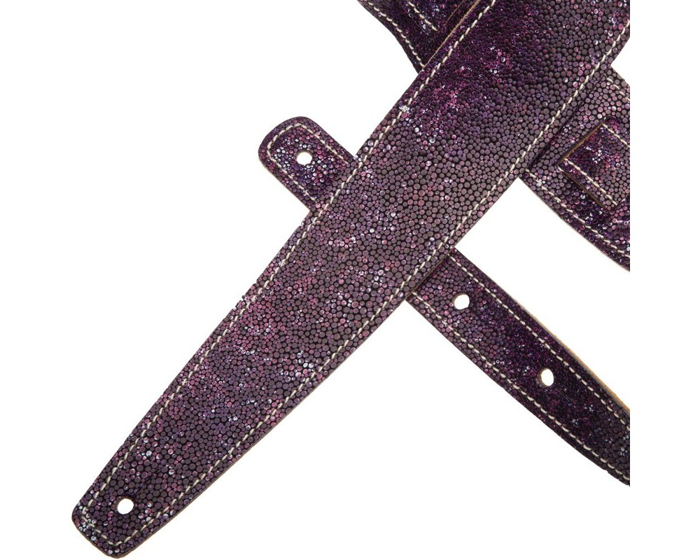 Tracolla per chitarra e basso in pelle Holes HS Embossed Seurat Viola 6 cm