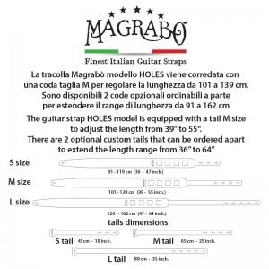 Tracolla per chitarra e basso Magrabò Buttons BC Core Bianco 5 cm