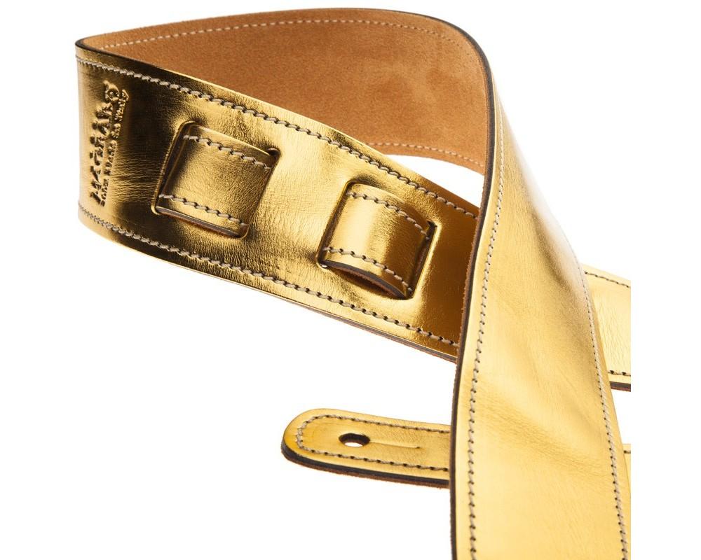 Tracolla per chitarra e basso in pelle Holes HS Metallic Gold 6 cm