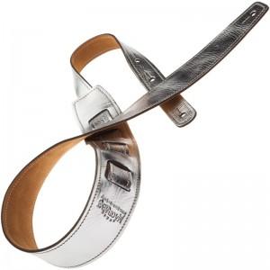 Tracolla per chitarra e basso in pelle Holes HS Metallic Silver 6 cm