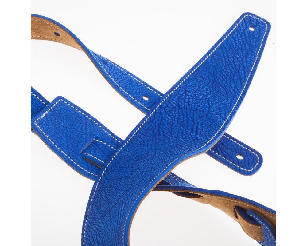 Tracolla per chitarra e basso in pelle Holes HS Textured Nabuck Tex Blu Elettrico 8 cm