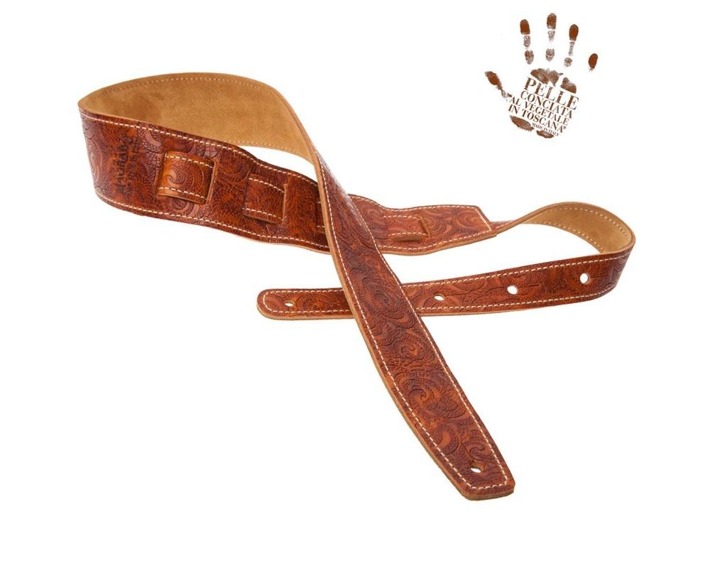 Tracolla per chitarra e basso in pelle Holes HS Embossed Ciler Marrone 6 cm