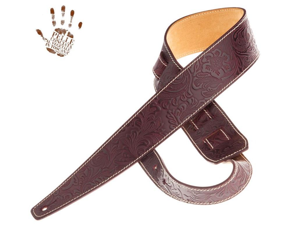 Tracolla per chitarra e basso in pelle Holes HS Embossed Flores Bordeaux 6 cm