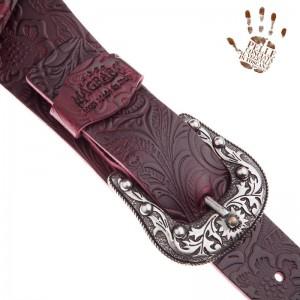 Tracolla per chitarra e basso in pelle Twin Buckle TC Embossed Flores Bordeaux 7 cm