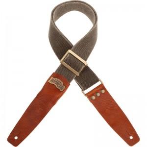 Tracolla per chitarra e Basso Stripe SC Cotton Washed Verde Oliva 5 cm terminali Twinkle Marrone, Fibbia Recta Ottone