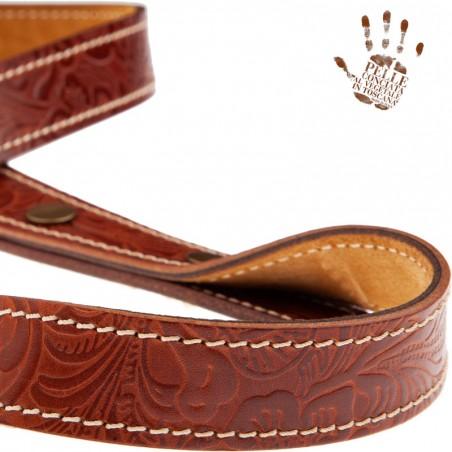 Tracolla per chitarra e basso in pelle Signature Capitan Fede BS Embossed Flores Marrone 2,7 cm