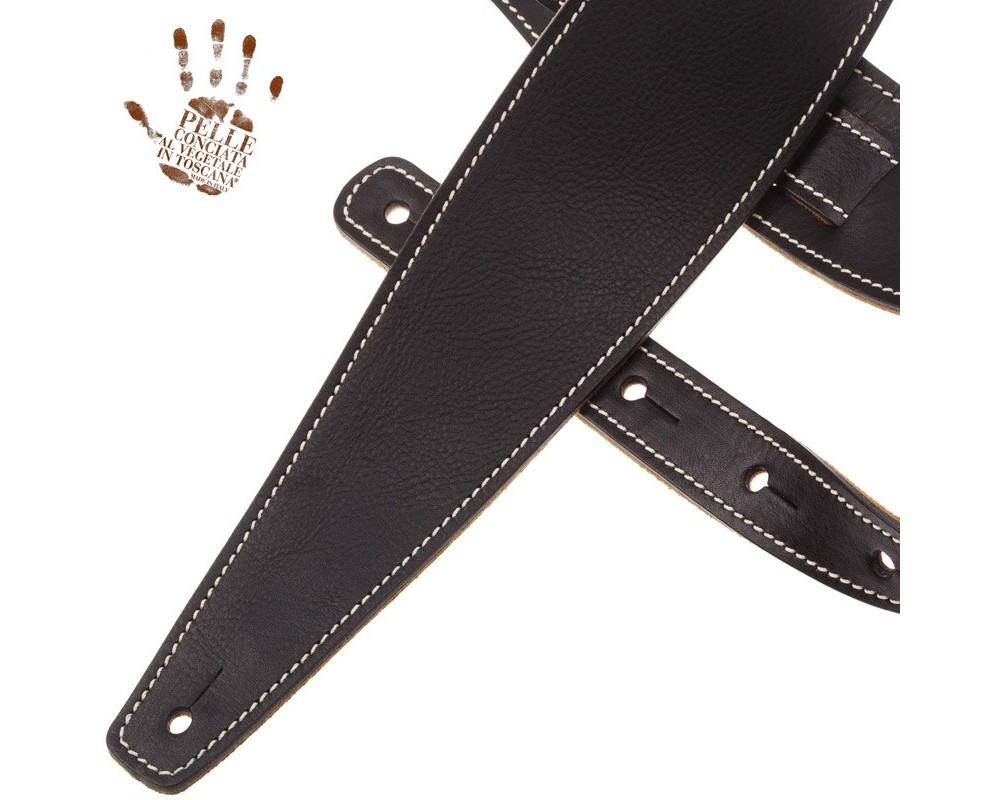 Tracolla per chitarra e basso in pelle Holes HS Core Nero 8 cm