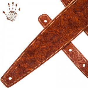 Tracolla per chitarra e basso in pelle Holes HS Embossed Ciler Marrone 8 cm