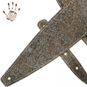 Tracolla per chitarra e basso in pelle Holes HS Embossed Seurat Bianco 10 cm