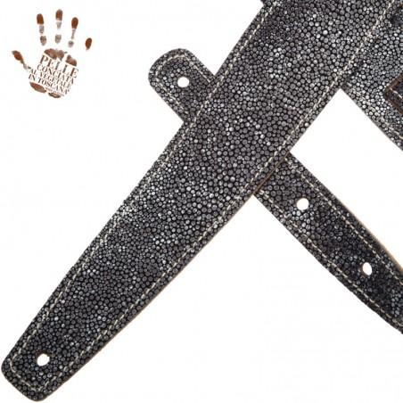Tracolla per chitarra e basso in pelle Holes HS Embossed Seurat Grigio 6 cm