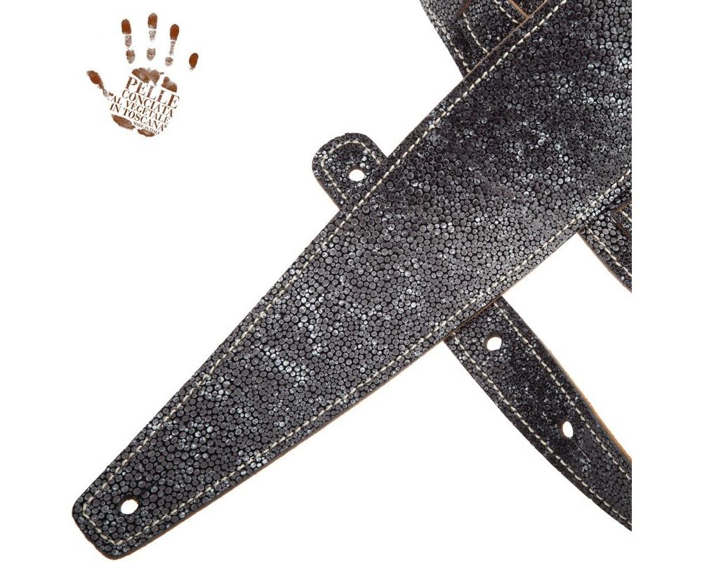 Tracolla per chitarra e basso in pelle Holes HS Embossed Seurat Grigio 8 cm