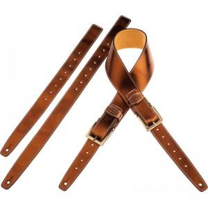 Tracolla per chitarra e basso in pelle Twin Buckle TS Metallic Bronze 7 cm